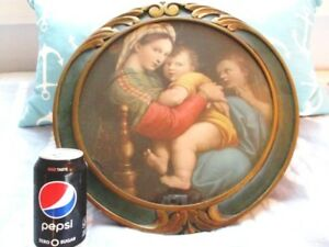 Large Antique Picture Madonna Baby Jesus Org Glass Green Gold Carved Frame