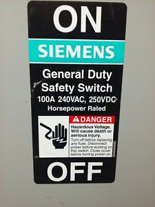 Siemens Gf323nr Safety Switch nema Type 3r Type Vb11 100a 240vac 250vdc Used