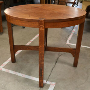 Antique Arts Crafts Gustav Stickley Oak Lamp Table 645 Original Finish Signed