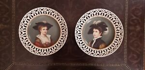 Austrian German Hand Painted Reticulated 12 Portrait Plaques