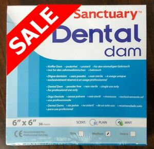 5 Box 180pcs Sanctuary Dental Rubber Dam Sheet Latex 6x6 Medium Mint Green 36 pk