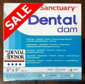 5 Boxes 260 Pcs Sanctuary Dental Rubber Dam Latex 5x5 Medium 52 pk Blue Sheets
