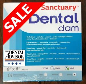 5 Box 180 Pcs Sanctuary Dental Sheet Rubber Dam Latex 6x6 Heavy Mint Green 36 pk