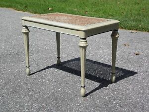 Antique Louis Xvi French Style Caned Piano Bench Vanity Stool Footstool