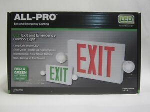 Eaton s Cooper All pro Red green Led Hardwired Exit And Emergency Light Combo