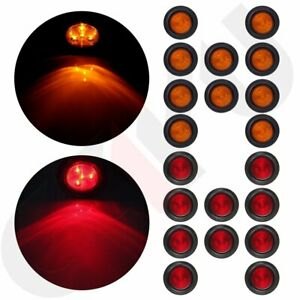 2 5 Round 4 Led Light Truck Trailer Side Marker Clearance Set 10 Red 10 Amber