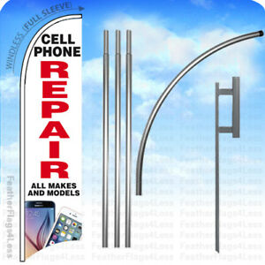 Cell Phone Repair All Makes Windless Swooper Flag Kit Feather Sign 15 Wb