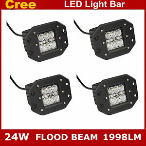 4x 24w Cree Square Flush Mount Flood Beam Led Work Light Off Road Fog 4wd Truck