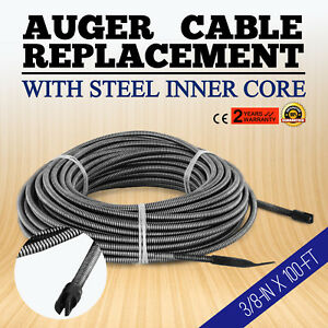 100 Ft Replacement Drain Cleaner Auger Cable Clog Dia 3 8 In Wire