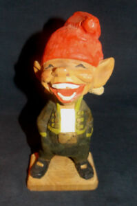 Vintage Handcarved Wood Smiling Troll Figurine Statue By Henning Norway 8 1 2