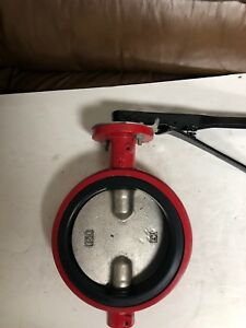 6 Inch Butterfly Valve Wafer Style Ductile Iron Disc Buna Seat Lever Handle