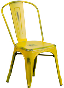 Best Autumn Bistro Chairs Distressed Yellow Color Restaurant Dining Furniture