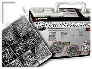 1121pc Stainless Steel Screws Washers Nuts Fastener Assortment Kit Machine Set
