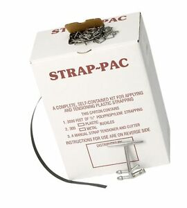 Pac Strapping Sp w Plastic Strapping Kit 3000 Length X 1 2 Wide 300 Wire B