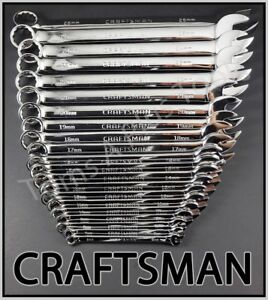 Craftsman Tools 21pc Full Polish Long Beam Combination Metric Mm Wrench Set