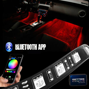 Bluetooth Rgb Led Interior Car Kit Under Dash Footwell 12 Strip Accent Lighting