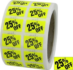 25 Off Labels Sales Discount Price Stickers Store Use Day glo Yellow Music New