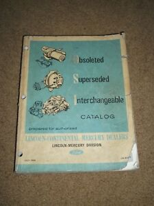 1966 Lincoln Continental Mercury Interchange Parts Catalog Part Numbers More