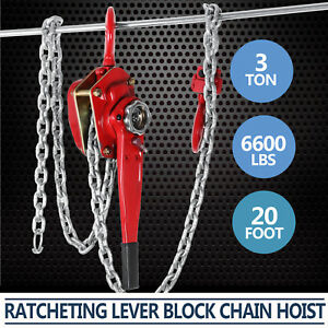 Come Along 3ton Lever Hoist Puller Load Brake Hand Ratcheting 2 Hooks Best