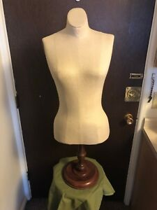 Antique vintage Superior Model Forms New York Dress Form Mannequin Wood Base