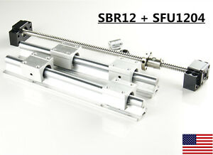 2x Sbr12 Linear Rail Set 1x Sfu1204 Ballscrew Kit 300 1500mm For Cnc Diy