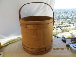 Vintage Primitive Large Wooden Firkin Bucket Sugar Bucket