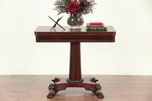 Empire Antique 1825 Console Opens To Game Table Lion Paw Feet 29551