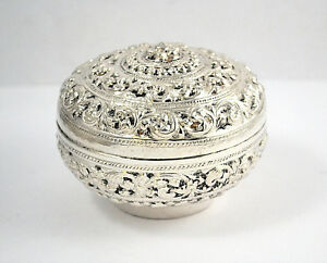 8171 Ornate Sterling Silver Covered Dresser Jar Vanity Powder Box With Lid