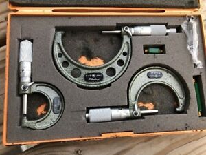 Mitutoyo 0 3 Outside Micrometer Set 0001 103 922 Unused Carbide Tipped