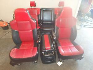99 07 Ford F250 Front Rear Seat W console Red Black Lariat Outlaw Power Custom