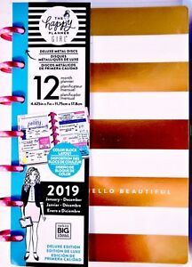The Happy Planner Girl New 2019 Socialite mini In Gold Stripe With Floral