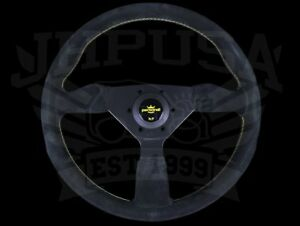 Personal Grinta 350mm Black Suede Steering Wheel W Yellow Stitch 6430 35 2092