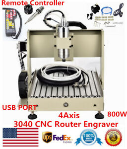 Usb 4axis 3040 Cnc Router Engraving Milling Carving Machine 800w With Controller