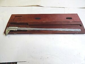 Starrett 123 E m 26 1 2 Vernier Caliper Us Metric In Wooden Case
