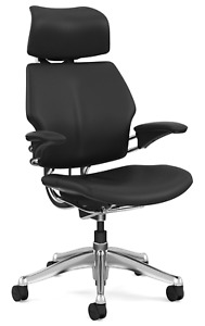 Humanscale F213 Freedom Black Bizon Leather Aluminum Computer Office Desk Chair