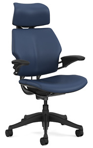 Humanscale Freedom F213 Twilight Blue Bizon Leather Desk Chair Advanced Arms