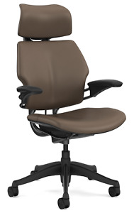 Humanscale Freedom F213 Miso Brown Bizon Leather Desk Chair With Advanced Arms
