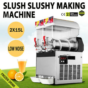 2 Tanks 30l Frozen Drink Slush Slushy Making Machine Smoothie Maker 110v