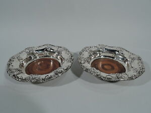 Theodore B Starr Coasters 1552 Pair Wine Bottle American Sterling Silver