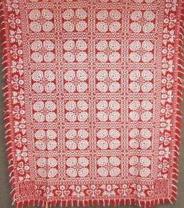Antique 1845 Pa Red Coverlet Lower Saucon Elisabeth Funk By Thomas Marstellar