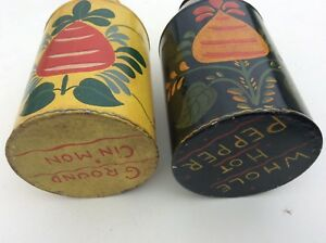 2 Antique Painted Folk Art Tole Tea Canister S Cinnamon Hot Pepperh