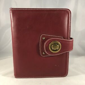 Compact 1 Red Full Grain Leather Franklin Covey Open Planner Binder Unstructured