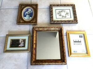 Lot Of 5 Vintage Picture Frames Ornate For Paintings Prints 1 Mirror