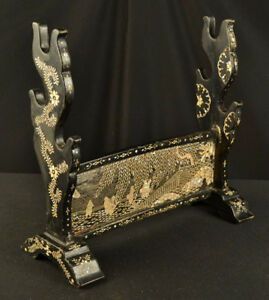 Antique Japanese 3 Sword Rack Katana Kake Black Lacquer W Mother Of Pearl Edo