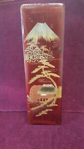 Antique Vintage Red Wood Lacquer Asian Japanese Landscape Aloy Inlay Wooden Box