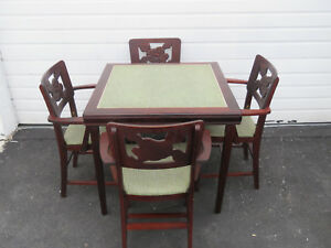 Mid Century Folding Dining Dinette Card Game Table And 4 Chairs By Norquist 9087