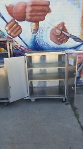 Royce Rolls Stainless Steel Double Door Cabinet Cart W flip Out Additional Dolly