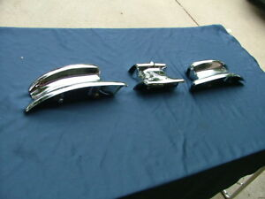 1946 48 Lincoln Rear Bumper Guard Ends And Center Ornament Re chromed
