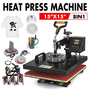 Top 8 In 1 Combo Heat Press Machine For T shirts 15 x15 Sublimation Swing Away