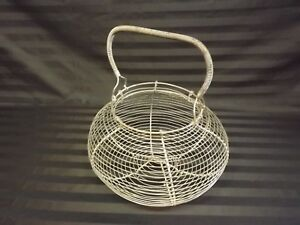 Classic 11 5 Antique French Wire Egg Basket 1920 S Primitive Country Farmhouse
